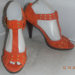 Nine West Heatitupo Orange Suede Heel 8.5M